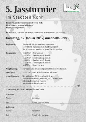 Anmeldung Jassturnier 2019